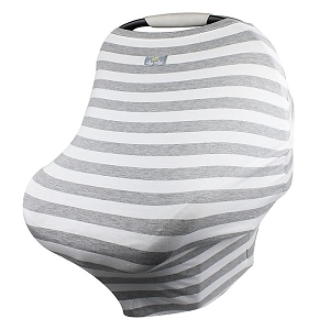 Mom Boss Multi Use Cover - Heather & Grey Stripe