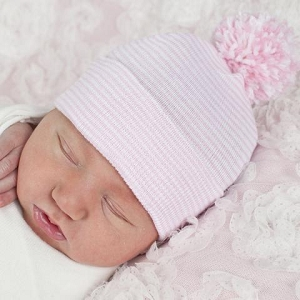 Pink Hat with Mixed Pom Pom
