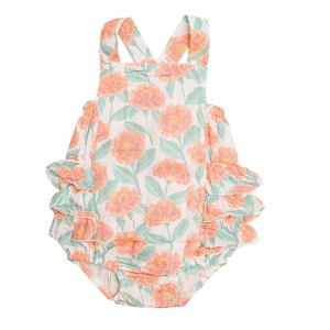 Marigold Garden Ruffle Sunsuit Orange