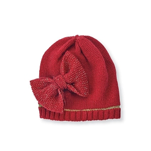 Mud Pie Knit Bow Hat - Red