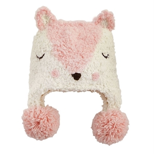 Mud Pie Pink Fox Knit Hat