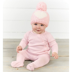 Mud Pie Pink Heart Knit Hat