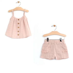 Soft Rose Flowy Top & Shorts