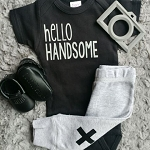 Hello Handsome Onesie - Black