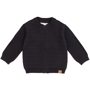 Knit Zip Up Jacket - Black