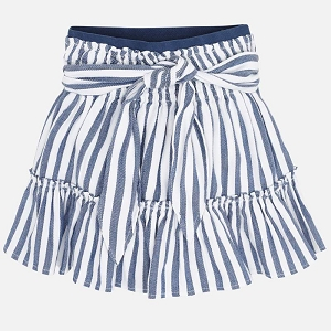 Blue Striped Elastic Skirt