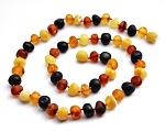 Amber Teething Necklace - Unpolished Baroque Multi