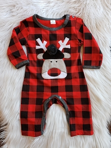 Christmas Checkered Reindeer Romper