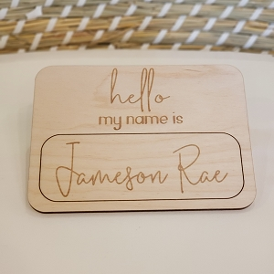 Hello My Name is - Wood Cursive