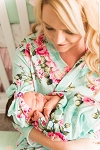 Posh Peanut Mommy and Me Robe & Swaddle Set - Aqua Floral