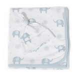 Saranoni Swaddle Blanket & Hat - Blue Elephant