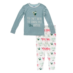 KicKee Pants Pajama Set - Natural Farm Animals