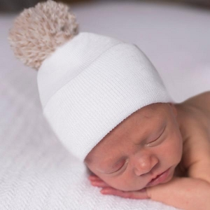 Natural Pom Newborn Beanie