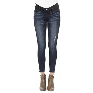 Distressed Denim Maternity Ankle Skinny Jeans