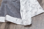 Saranoni Gray Lush Blanket with Gray Feather Satin Back
