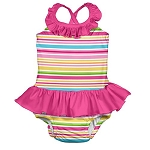 Pink Stripe Swimsuit with Built In Swim Diaper