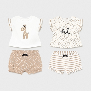 Mayoral Tan Baby Girl Outfit