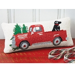 Red Truck Hooked Pillow