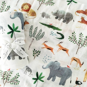 Luxe Bamboo Muslin Swaddle - Safari