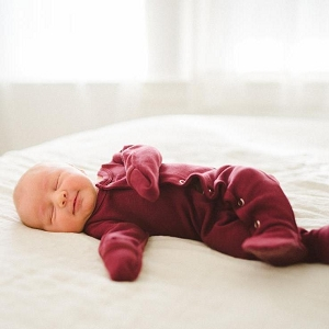 Organic Long Sleeve Footed Overall - Cranberry