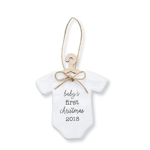 Mud Pie Baby's First Christmas Ornament 2018 - Onesie Style