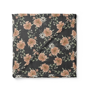 Charcoal Gray Peony Blooms Swaddle