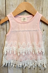 Pink Tiered Crochet Overlay Tank