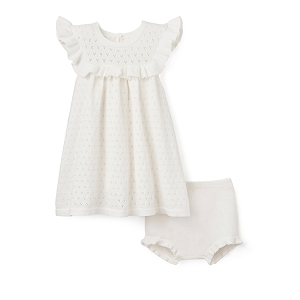 White Pointelle Flutter Dress & Bloomer