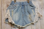 Denim Short with Crochet Hem