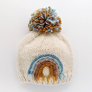 Rainbow Knit Beanie Hat - Teal