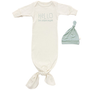 Sage Hello I'm New Here - Long Sleeve Infant Tie Gown & Hat