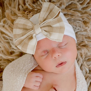 Taupe Plaid Bow Newborn Beanie