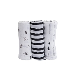 Little Unicorn Cotton Swaddle Set - Black & White