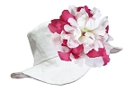 White Sun Hat with White Raspberry Peony