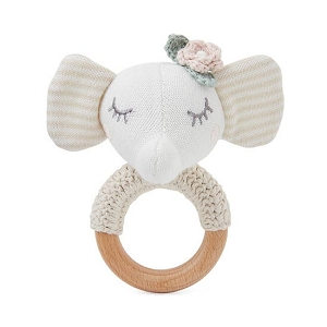 Elephant Baby Ring Rattle - Floral