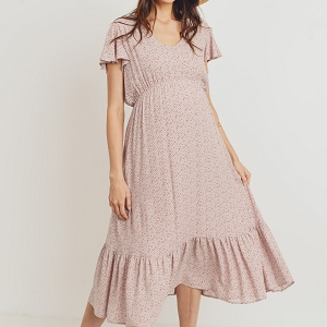 Mauve Rayon Gauze With Ruffled Ends Maternity Dress