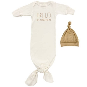 Clay Hello I'm New Here - Long Sleeve Infant Tie Gown & Hat