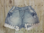 Denim Short with Lace Hem
