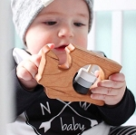 Washington State Wooden Baby Rattle - Black & Grey
