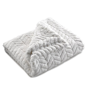 Liz and Roo Faux Fur Security Blanket - Ivory Herringbone