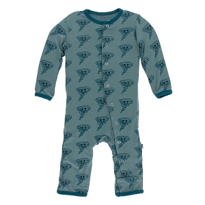 KicKee Pants Print Coverall with Zipper - Dusty Sky Happy Tornado