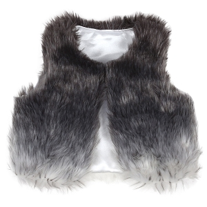 Faux Fur Vest - Black Ombre