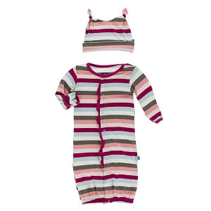 Kickee Pants Print Converter Gown & Hat Set - Geology Stripe