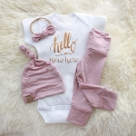 Hello I'm New Here Rose Gold Onesie