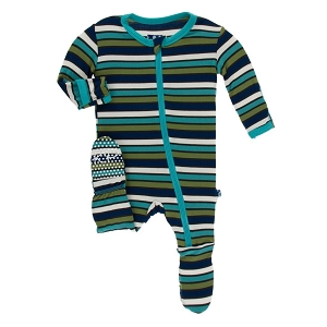 Kickee Pants Solid Footie with Zipper - Botany Stripe