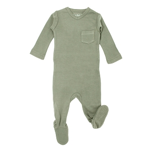 Organic V-Neck Footie - Fern