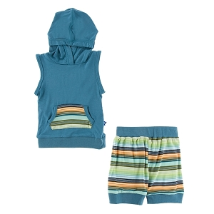 Kickee Pants Short Sleeve Hoodie Tank Outfit - Cancun Glass Stripe