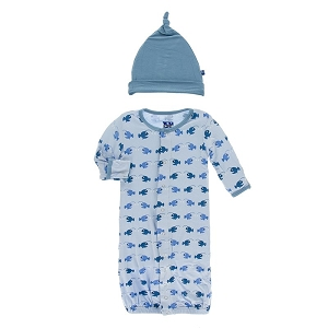Kickee Pants Print Converter Gown & Hat Set - Pond Angler Fish
