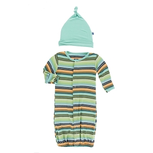 Kickee Pants Print Converter Gown & Hat Set - Cancun Glass Stripe