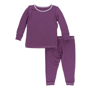 Kickee Pants Solid Pajama Set - Amethyst with Sweet Pea